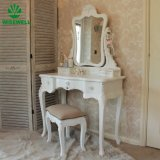 Mobiliário espelhada francês White toucador com espelho 3