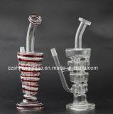 Tubo de água de fumo de vidro com difusor de camadas múltiplas Reciclador de óleo modelo Czs-026