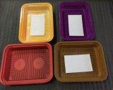 Einfacher geöffneter biodegradierbarer Nahrungsmittelplastikbehälter für Fleisch mit saugfähigen Auflagen