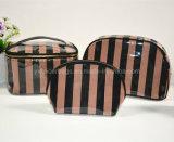 2016 en satin de haute qualité revêtu de sac à cosmétiques en PVC à fermeture à glissière