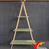 Triangle Vintage Wood Board Metal Flower Pot Rack