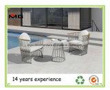 Contrato de exterior de acero inoxidable Jardín sillas sofá con apoyabrazos de madera