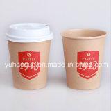 Экологичный 10oz крафт-коричневый горячего кофе чашку бумаги с крышками