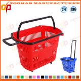 Panier à provisions en plastique classieux de supermarché de qualité avec les roues (ZHb156)