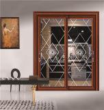 Interior de porta corrediça de alumínio com vidro laminado temperado