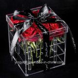 Nueva caja de plástico de Rose de acrílico, tamaño de encargo y color