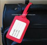 Étiquette de bagage de sac en cuir de voyage avec fenêtre d'identité transparente