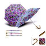 カスタマイズされた雨滴の印刷の木のハンドルの二重層のまっすぐな傘