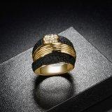 주문 형식 금 보석 2 음색 반지 검정 및 금 여자 반지