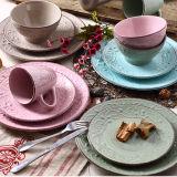 OEM popular Nuevos productos originales de calidad de diseño en relieve conjunto de cena de cerámica