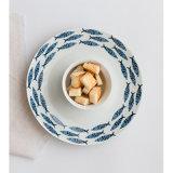 Flor de loto pintada y placa de ensalada creativa azul del plato del desayuno del plato de la placa de los pescados y del filete