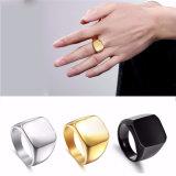 24K Ring van de Mensen van de Vinger van de Mens van het Staal van het titanium de Zilveren Zwarte Gouden