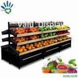 Supermarkt Drie het Rek van de Plank van de Tribune van de Vertoning van de Opslag van Rijen voor Vruchten en Groenten (VMS907)