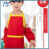 より安い綿ポリエステルエプロン印刷の子供の台所作業エプロン