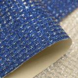 Couro de seda metálico do plutônio do Glitter para a sapata do saco