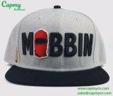 Fabricante gris 100% del sombrero del casquillo del Snapback del algodón