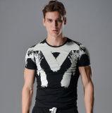 O-Stutzen-Shirt-Halsausschnitt-Kurzschluss-Hülsen-T-Shirt