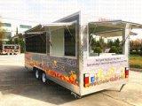 4개의 바퀴를 가진 섬유 유리 소파 주스 Kebab 아이스크림 이동할 수 있는 Vending 밴