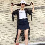 Novo Design Senhoras Sexy Lado Crochê vestido de franja de manga curta