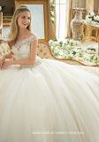 Diamante que rebordea los vestidos de bola nupciales Bateau Bodice el vestido de boda de Tulle 2017 Mrl2884