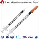 Capuchon orange de l'insuline seringue jetable de 1 ml 0.5ml 0.3ml avec aiguille fixe