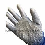 Эср PU покрытием нейлоновые вязаные рукавицы голубого цвета с ПВХ точек