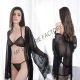 Hotestデザイン3部分の縦縞の見通しの女性の下着セット