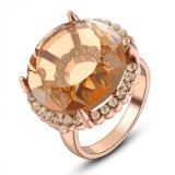 합금 금 도금 둥근 브라운 도매 황옥 수정같은 형식 보석 반지