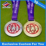 Gouden Medaille van het Metaal van de Medaille van de Dag van de Sporten van de Medaille van het Brons van de douane 3D Gouden Zilveren met het Lint van de Hals