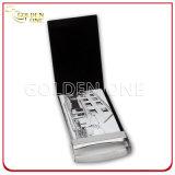 Caja de tarjeta de nombre del cuero genuino del negro del regalo de la promoción