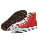 Ботинки холстины красного цвета новой модели плоско чисто красные