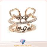 Ring 925 van Feshion de Echte Zilveren Ringen die van Juwelen de Regelbare Leuke Ring van de Vleugels van de Hoek (R10284) openen