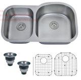 ステンレス鋼の台所の流し、台所の流し、台紙の倍ボールの台所の流しの下のステンレス鋼
