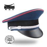 赤い配管および銀ストラップを持つカスタマイズされた海軍中尉帽子