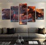 5 pedazos de la pintura de la lona representan la decoración casera de Cuadros Warcraft del arte de la pared del cartel para las ilustraciones de pintura impresas modernas de la sala de estar