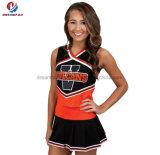 Il nuovo modo poco costoso progetta l'uniforme per il cliente variopinta nera ed arancione di Cheerleading di Mess