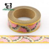 Chinesisches Lieferant Cmyk Drucken-Pfingstrose-Blumen-Goldfolie Washi einzelnes seitliches stationäres Papierband