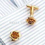 Bouton de manchette de chemise de fleur plaqué par or de VAGULA Rose