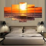 cuadros del paisaje marino del océano 5PCS a la foto impresa en el arte de la pared de la lona para las decoraciones del hogar y de la oficina