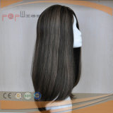 Brown Cabello Humano PU encerrada peluca (PPG-L-01468)