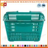 Doppelter Standardgriff-beweglicher Supermarkt-Plastikeinkaufskorb (Zhb132)