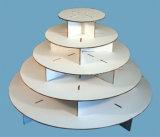 De cartón blanca Cupcake Soporte de pantalla de verificación con impresión personalizada, 5-tier papel Cupcake Stand para los niños de forma redonda