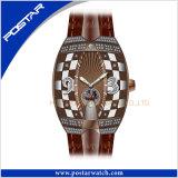 La montre automatique de Suisse de montre de qualité en cuir de la bande a+