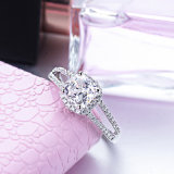 anello cubico placcato dell'argento di Zirconia di alta qualità dell'oro bianco 18K