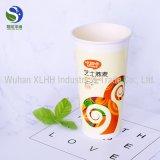 Logotipo feito sob encomenda único copo de café descartável impresso do papel de parede com tampas