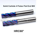 El molino de extremo plano de la venta del alto rendimiento de la flauta sólida caliente del carburo 4 con HRC55 Tisin cubrió