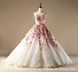Robes de mariage sans manche nuptiales de robe de bille de lacet rose Z1028