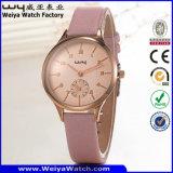 Relógio de pulso ocasional das senhoras de quartzo da cinta de couro do tipo do ODM (Wy-096C)