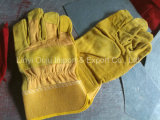 10.5 '' коротких пожаробезопасных дешевых золотистых перчаток работы заварки кожи коровы