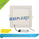 Super brillante luz empotrado de aluminio de 6W-24W 85V-265V Square Panel LED LUZ